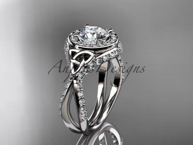 14kt white gold diamond celtic trinity knot wedding ring, engagement ring CT7416
