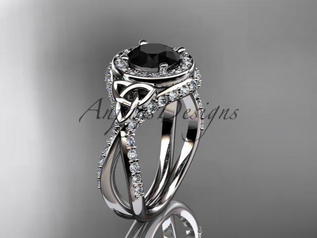 Platinum diamond celtic trinity knot , engagement ring,  Black Diamond  CT7416