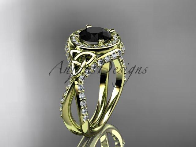 14k yellow gold diamond celtic trinity knot , engagement ring,  Black Diamond  CT7416