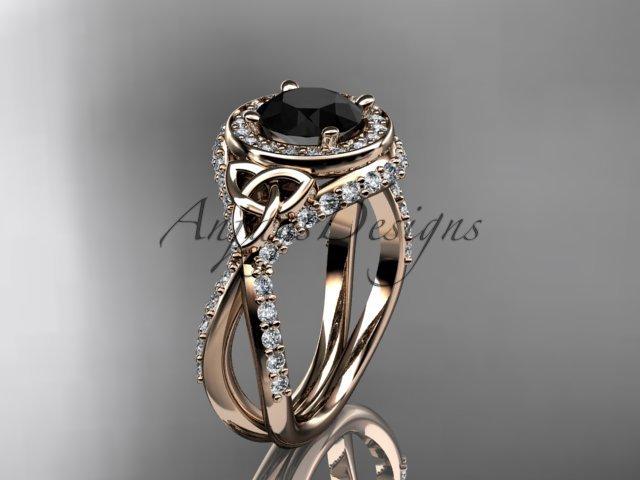 14k rose gold diamond celtic trinity knot , engagement ring,  Black Diamond  CT7416