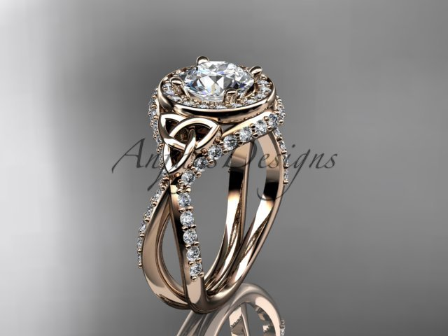 14kt rose gold diamond celtic trinity knot, engagement ring with a Moissanite center stone CT7416