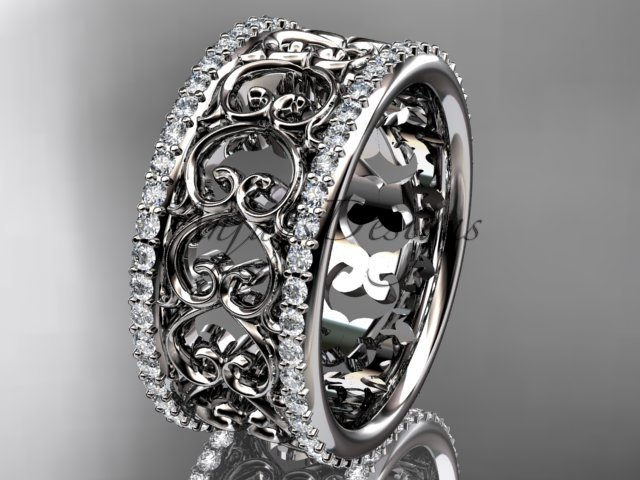 14kt white gold diamond engagement ring, wedding band ADLR423B