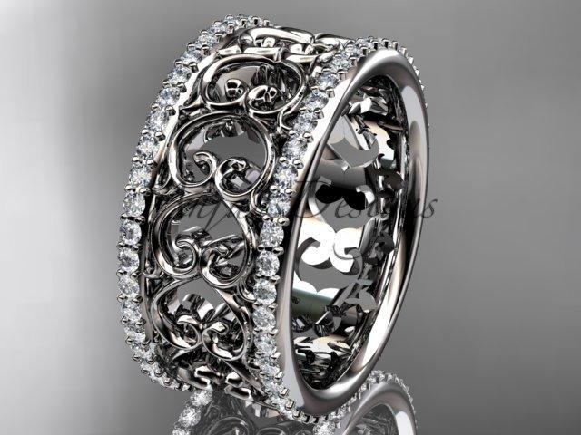 platinum  diamond engagement ring, wedding band ADLR423B