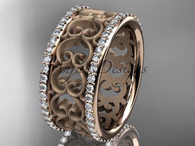 14kt rose gold diamond engagement ring, wedding band ADLR423B