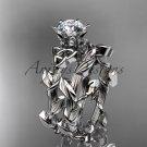 Platinum  diamond celtic trinity knot wedding ring, engagement ring, Moissanite CT7248S