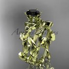 14kt yellow gold diamond celtic trinity knot wedding ring, engagement ring, Black Diamond CT7248S