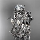 14kt white gold celtic trinity knot wedding ring, engagement set CT7238S