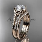 14kt rose gold celtic trinity knot engagement ring  with a Moissanite center stone CT7108S