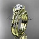 14kt yellow gold celtic trinity knot engagement ring  with a Moissanite center stone CT7108S
