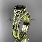 14kt yellow gold celtic trinity knot engagment set with a Black Diamond center stone CT7108S