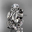 14kt white gold celtic trinity knot engagement ring, Moissanite center stone CT7264 CT7264