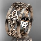 14kt rose gold celtic trinity knot wedding band, engagement ring CT7236G