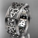 14kt white gold celtic trinity knot wedding band, engagement ring CT7513G