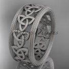 14kt white gold celtic trinity knot wedding band, matte finish wedding band, engagement ring CT7513G