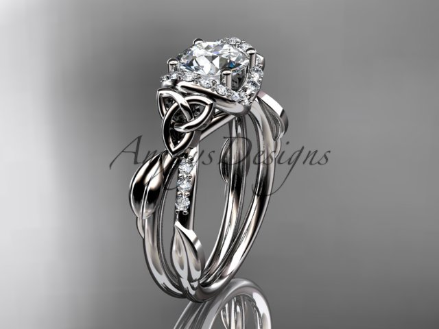14kt white gold diamond celtic trinity knot  engagement ring, with a Moissanite center stone CT7274