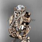 14kt rose gold diamond celtic trinity knot wedding ring, engagement ring CT7515