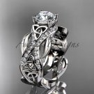 14kt white gold diamond celtic trinity knot engagement ring with a Moissanite center stone CT7515