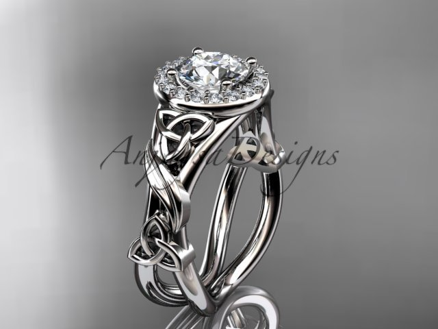 14kt white gold diamond celtic trinity knot engagement ring with a Moissanite center stone CT7302