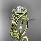 14kt yellow gold diamond celtic trinity knot engagement ring with a Moissanite center stone CT7302