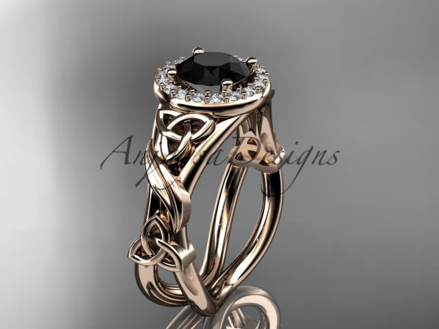 14kt rose gold diamond celtic trinity knot engagement ring with a Black Diamond center stone CT7302