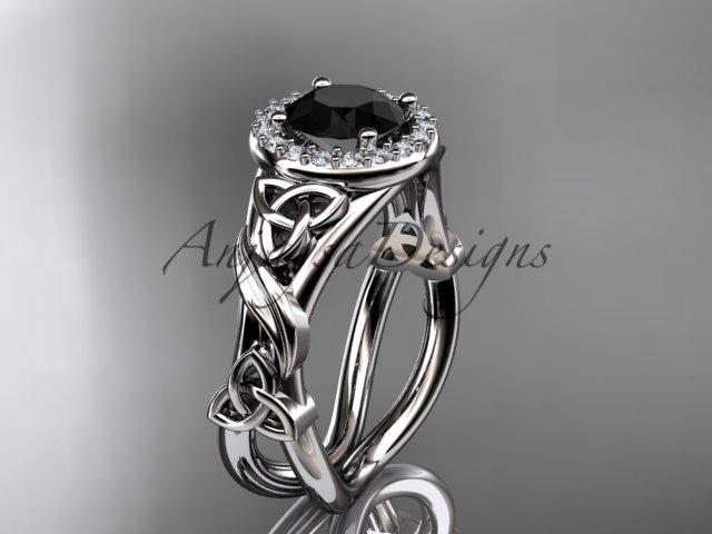 Platinum diamond celtic trinity knot engagement ring with a Black Diamond center stone CT7302