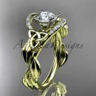 14kt yellow gold diamond celtic trinity knot wedding ring, engagement ring CT7326