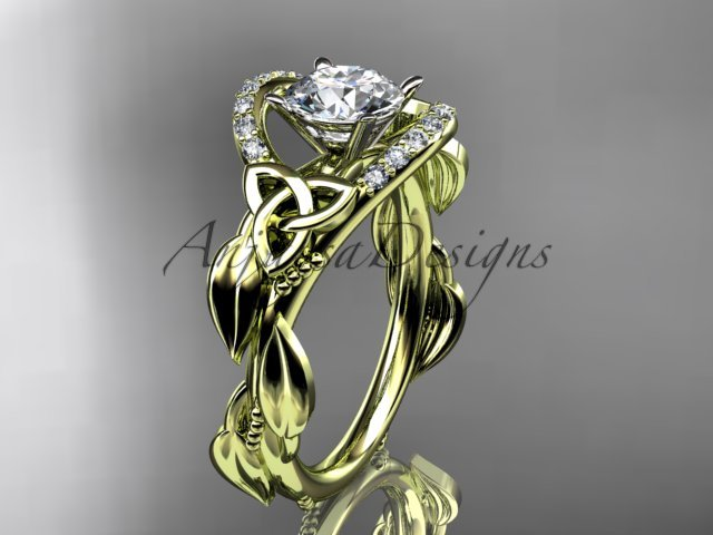 14kt yellow gold diamond celtic trinity knot engagement ring with a Moissanite center stone CT7326