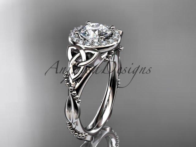 Platinum diamond celtic trinity knot wedding ring, engagement ring CT7328