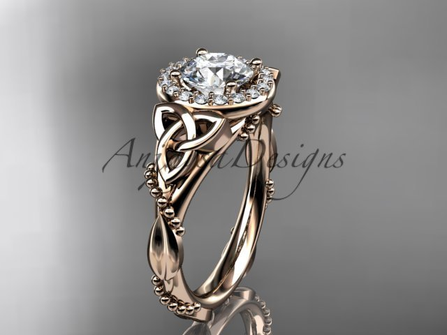 14kt rose gold diamond celtic trinity knot engagement ring with a Moissanite center stone CT7328