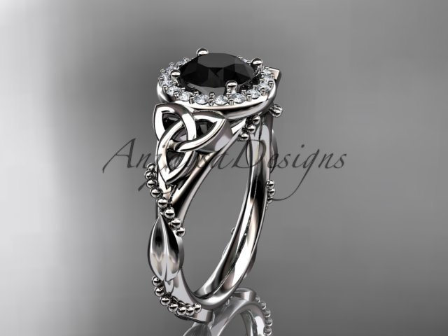 Platinum diamond celtic trinity knot engagement ring with a Black Diamond center stone CT7328