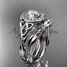Platinum  diamond celtic trinity knot wedding ring, engagement set CT7328S