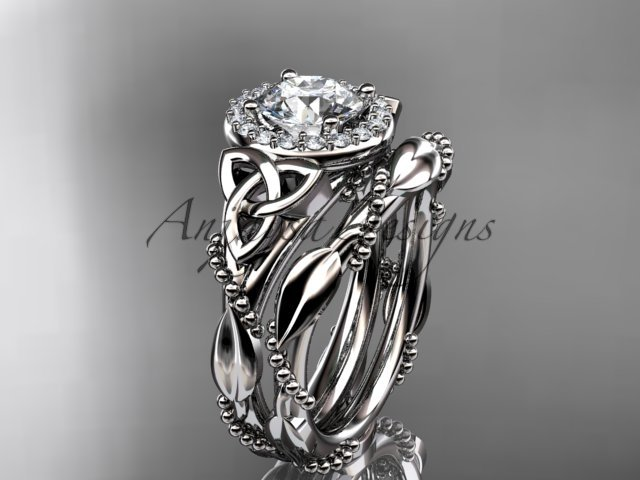 14kt white gold diamond celtic trinity knot engagement set with a Moissanite center stone CT7328S