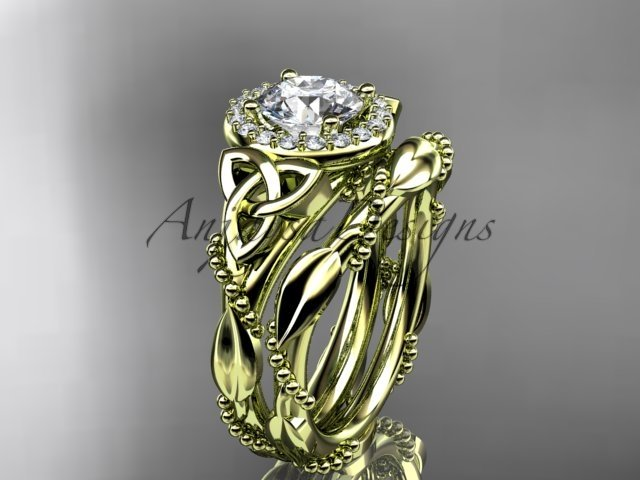 14kt yellow gold diamond celtic trinity knot engagement set with a Moissanite center stone CT7328S