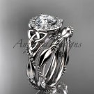 Platinum  diamond celtic trinity knot engagement set with a Moissanite center stone CT7328S