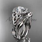 Platinum  diamond celtic trinity knot engagement set with a Moissanite center stone CT7328S