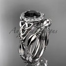 14kt white gold diamond celtic trinity knot engagement set with a Black Diamond center stone CT7328S