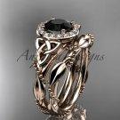 14kt rose gold diamond celtic trinity knot engagement set with a Black Diamond center stone CT7328S