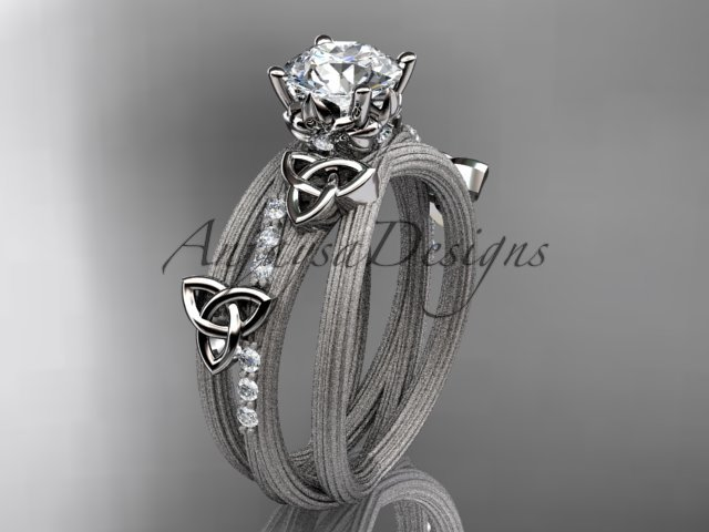 14kt white gold diamond celtic trinity knot engagement ring with a Moissanite center stone CT7329