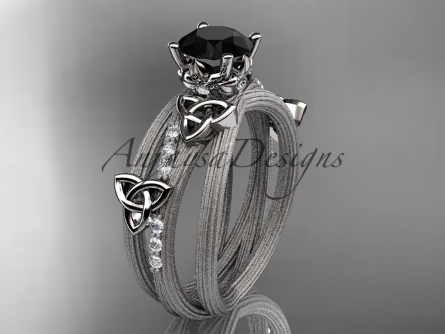 14kt white gold diamond celtic trinity knot engagement ring with a Black Diamond center stone CT7329