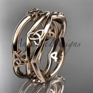 14kt rose gold celtic trinity knot wedding band, engagement ring CT7350G