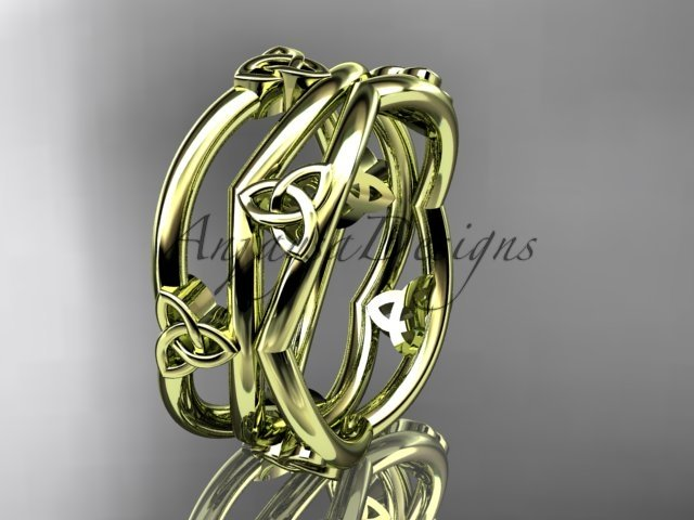 14kt yellow gold celtic trinity knot wedding band, engagement ring CT7350G