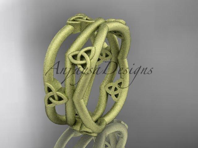 14k yellow gold celtic trinity knot wedding band, matte finish wedding band, engagement ring CT7350G