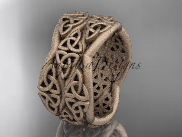 14kt rose gold celtic trinity knot wedding band, matte finish wedding band, engagement ring CT7352G