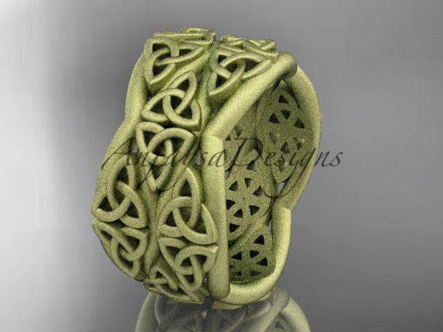 14k yellow gold celtic trinity knot wedding band, matte finish wedding band, engagement ring CT7352G