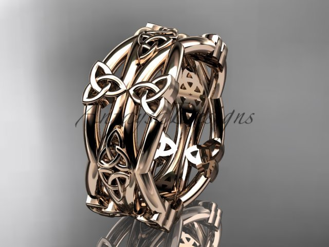 14kt rose gold celtic trinity knot wedding band, engagement ring CT7517G