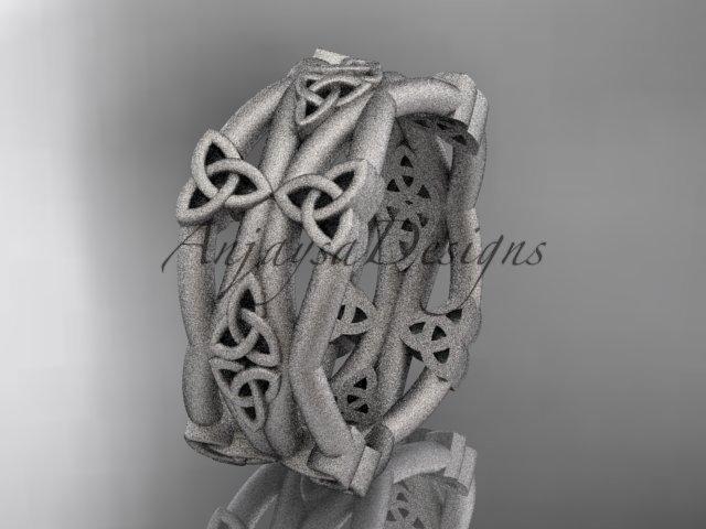 14kt white gold celtic trinity knot wedding band, matte finish wedding band, engagement ring CT7517G