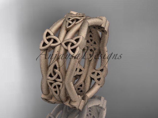 14kt rose gold celtic trinity knot wedding band, matte finish wedding band, engagement ring CT7517G