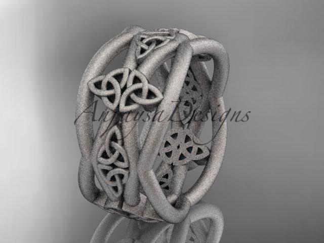 platinum  celtic trinity knot wedding band, matte finish wedding band, engagement ring CT7519G