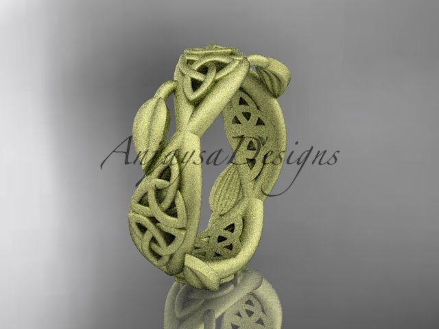 14kt yellow gold celtic trinity knot , matte finish , triquetra ring engagement ring CT7520G