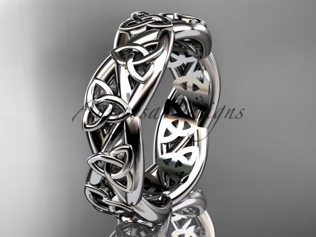 Platinum  celtic trinity knot wedding band, triquetra ring, engagement ring CT7392G
